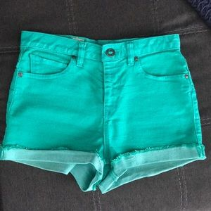 High waisted green teal shorts Volcom 5